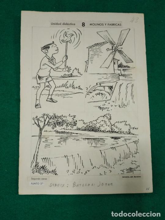 BATLLORI JOFRE DIBUJOS ORIGINALES PARA LIBRO ESCOLAR DE EDITORIAL SALVATELLA. (Arte - Dibujos - Contemporáneos siglo XX)