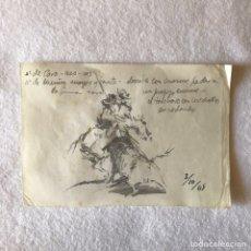 Arte: TOROS / TAUROMAQUIA - GRAN DIBUJO A LÁPIZ ¿RUANO LLOPIS?. Lote 284113723