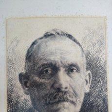 Arte: MAGNÍFICO DIBUJO RETRATO DE CABALLERO 1924 FIRMADO LÁPIZ SOBRE CARTULINA. Lote 284356113