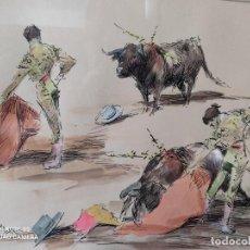 Arte: CUADRO DIBUJO ESCENAS TAURINAS PLUMILLA Y ACUARELA ANTONIO CASERO SANZ 1898/1973 FIRMADO ORIGINAL. Lote 284501038
