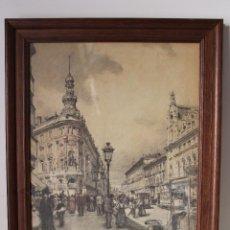 Arte: LA CALLE DE ALCALA 1911 - REPRODUCCION DEL DIBUJO DE DIONISIO BAXEIRAS VERDAGUER. Lote 284552753
