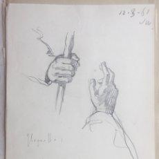 Arte: JOSÉ SEGRELLES. BOCETO A LAPIZ. APUNTES DEL ARTISTA SIGLO XIX MANOS DE UN CURA CATOLICO. AÑO 1961. Lote 286432268