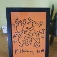 Arte: DIBUJO SOBRE PAPEL ORIGINAL DE KEITH HARING FIRMADO 1986 - DOS COA - 2 CERTIFICADOS DE AUTENTICIDAD. Lote 286565188