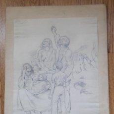 Arte: DIBUJO SOBRE PAPEL DE CARMEN OSÉS (CALATAYUD,ZARAGOZA 1898) 1937 (GUERRA CIVIL). Lote 286673268