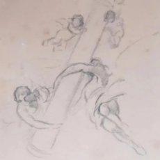 Arte: DIBUJO CON IMÁGENES DE ÁNGELES. SIGLO XIX. LEER DESCRIPCIÓN ANTES DE PUJAR O COMPRAR.. Lote 287465068