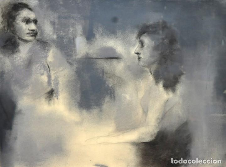 ERNESTO FONTECILLA (SANTIAGO DE CHILE, 1938) DIBUJO A PASTEL FECHADO DEL AÑO 1988. PERSONAJES (Arte - Dibujos - Contemporáneos siglo XX)