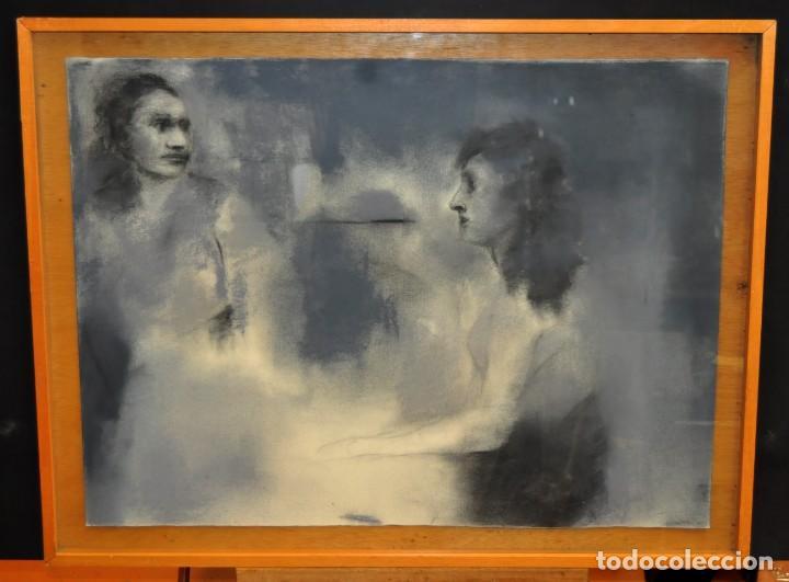 Arte: ERNESTO FONTECILLA (SANTIAGO DE CHILE, 1938) DIBUJO A PASTEL FECHADO DEL AÑO 1988. PERSONAJES - Foto 2 - 287654878