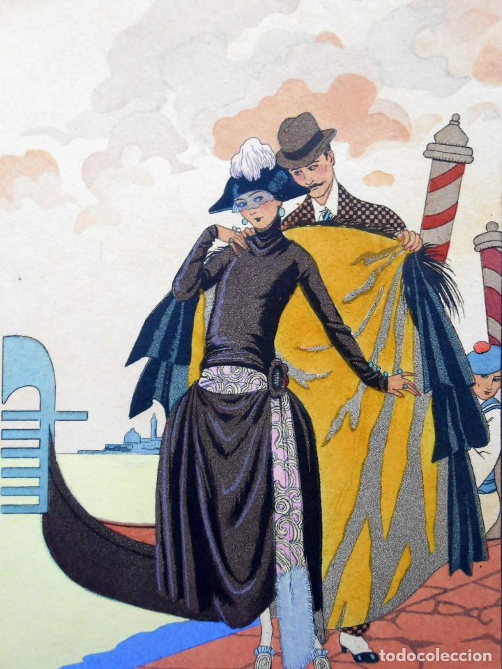 Arte: VENECIA - ELLE ET LUI - LITOGRAFÍA BARBIER 1921 - Foto 2 - 287678838