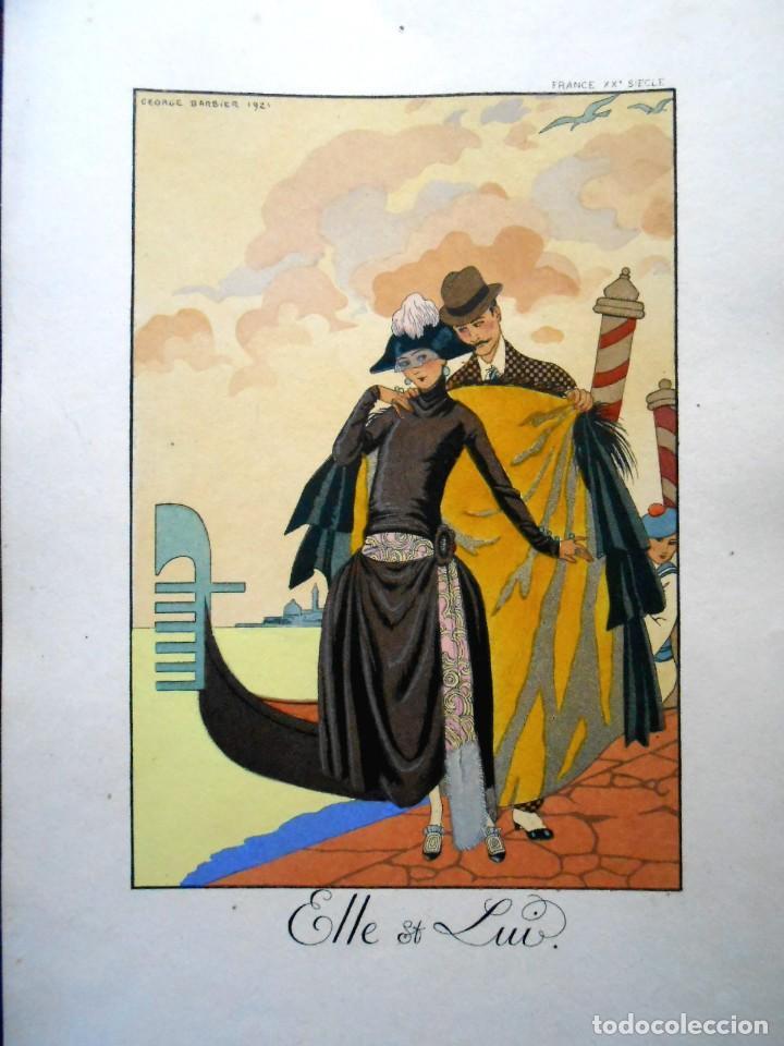 Arte: VENECIA - ELLE ET LUI - LITOGRAFÍA BARBIER 1921 - Foto 3 - 287678838