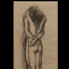 "Arte: DIBUJO ""ABRAZO AL DESNUDO"", POR PEDRO BUENO VILLAREJO (SIGLO XX). Lote 287776293"