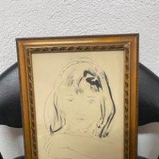 Art: DIBUJO/ACUARELA FIRMADO POR TRINIDAD SOTOS BAYARRI AÑO 1958. Lote 287866233