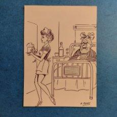 """Art: E. PONS"""" UN DIA EN EL HOSPITAL"""" CARICATURA ORIGINAL. Lote 288023608"""