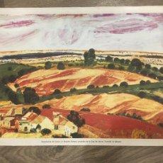 Arte: ALBACETE BENJAMÍN PALENCIA 1971 REPRODUCCION EN LIENZO CUADRO PROPIEDAD CAJA DE AHORROS 40X51 CMS. Lote 288091368