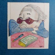 """Arte: A. COLL """"CARICATURA ESCRITOR"""" 1992. Lote 288528308"""