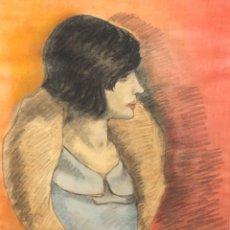 Arte: FIRMADO LACAMBRA. TECNICA MIXTA SOBRE PAPEL FECHADO DEL AÑO 1966. JOVEN DE PERFIL. Lote 288733913