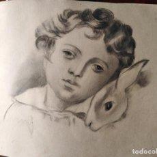 Arte: DIBUJO CARBONCILLA S XIX NIÑO CON CONEJITO. Lote 288742233