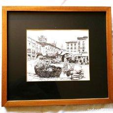 Arte: PLAZA DE VIC MERCADO AÑOS 70 DIBUJO TINTA DE SUSANA PALLARÉS. MED. 49 X 32 CM. Lote 288859833