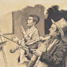 Arte: MÚSICOS, VIOLINISTA Y CANTANTE, DIBUJO A PUNTA FINA, FIRMADO C. GRANULLAQUE. 24X17,5CM. Lote 288916408