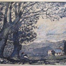 Art: PERE GUSSINYÉ I GIRONELLA, (OLOT, 1890-1980). PAISAJE. FANTASTICO DIBUJO A CERAS. 35 X 47 CM.FIRMAD0. Lote 289500098