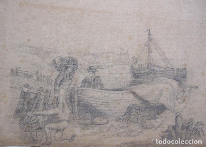 PESCADORES CON SUS BARCAS.ANTIGUO DIBUJO A LÁPIZ. SIGLO XIX. IMAGEN. 17 X 24 CM PAPEL 20 X 322CM (Arte - Dibujos - Modernos siglo XIX)