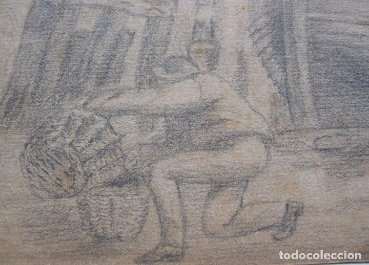 Arte: PESCADORES CON SUS BARCAS.ANTIGUO DIBUJO A LÁPIZ. SIGLO XIX. IMAGEN. 17 X 24 CM PAPEL 20 X 322CM - Foto 6 - 289552893