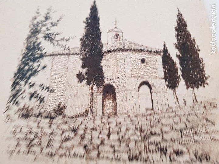 ERMITA DE SAN MIGUEL- ASCO TARRAGONA FIRMADO R.SUAREZ 1940 (Arte - Dibujos - Modernos siglo XIX)