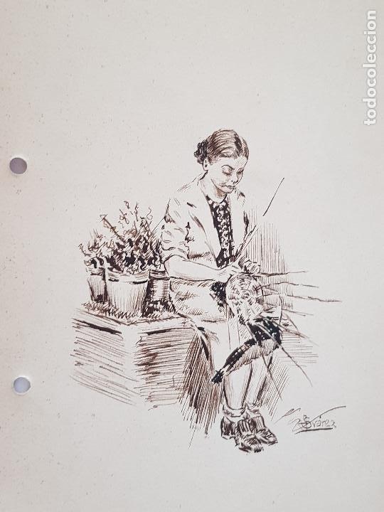 MUJER AMA DE CASA FIRMADO JUAN SUAREZ (Arte - Dibujos - Modernos siglo XIX)