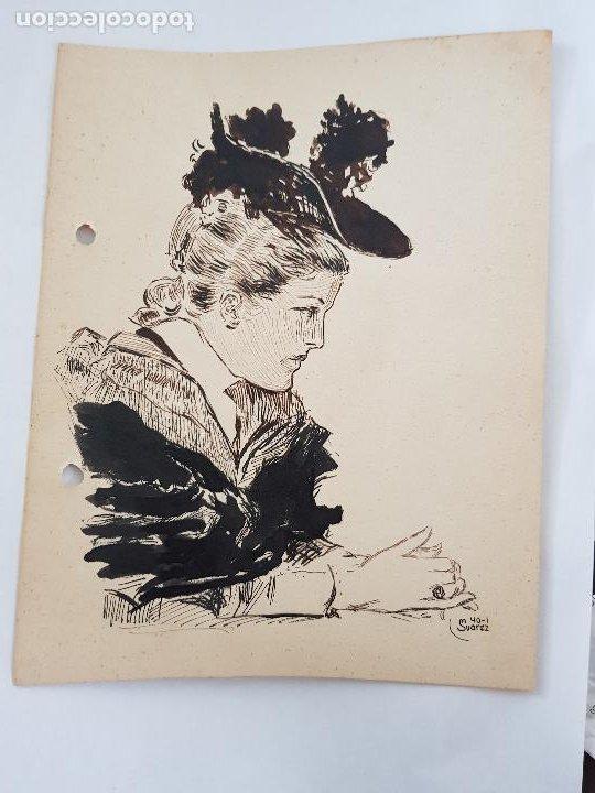 Arte: MUJER DE EPOCA FIRMADO SUAREZ 1940 - Foto 7 - 289605103