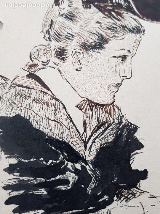 MUJER DE EPOCA FIRMADO SUAREZ 1940 (Arte - Dibujos - Modernos siglo XIX)