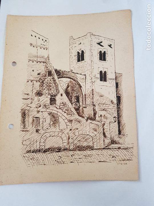 PUEBLO DE TARRAGONA FIRMADO SUAREZ 1-2 39 (Arte - Dibujos - Modernos siglo XIX)