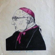 Arte: VALLADOLID RETRATO DEL ARZOBISPO LANDASEGUI 1946 PLUMILLA POR W. HERNANDEZ 23 X 35 CMTS. Lote 289626733