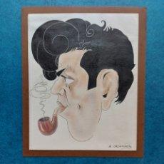 """Arte: AUGUSTO MAGARIÑOS """"CARICATURA JOVEN CON PIPA"""". Lote 290077063"""