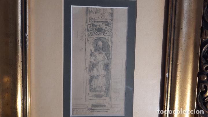 MAGNIFICO DIBUJO DE RICARDO DE VILLODAS Y DE LA TORRE ,FIRMADO Y CON CUÑO (Arte - Dibujos - Modernos siglo XIX)