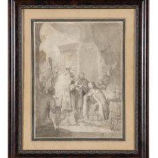 Arte: AGUADA SOBRE PAPEL ESTUDIO PARA LA ÚLTIMA COMUNIÓN DE SAN FERNANDO JOSÉ GUTIERREZ DE LA VEGA 1831. Lote 291653883