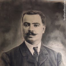 Arte: FRANCISCO PEREZ(S.XIX) RETRATO DE CABALLERO, A LAPIZ Y CARBONCILLO. FECHADO 1909. 50X40CM. Lote 292024398
