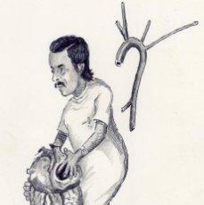 Arte: DIBUJO ORIGINAL A TINTA Y LAPIZ FIRMADO , TROPEZONES - CRUZ DE CERRAJERIA- 30 X 21 CENTIMETROS. Lote 292376338