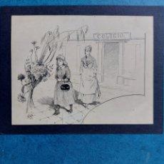 """Arte: MIRÓ"""" SALIENDO DEL COLEGIO"""" ORIGINAL ILUSTRACION 1889. Lote 293188683"""