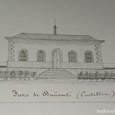 Arte: ANTIGUO FARO DE BENICARLO CASTELLÓN DIBUJO ORIGINAL FINALES DEL SIGLO XIX. Lote 293230173