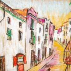 Arte: BARTOMEU MASSOT GUILLAMET (FIGUERES, 1923 - BARCELONA, 1974) DIBUJO A CERAS DEL AÑO 1956. UNA CALLE. Lote 293771038
