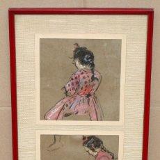 Arte: JOAN VILA CINCA (SABADELL, 1856 - 1938) PAREJA DE DIBUJOS A PASTEL. NIÑAS. Lote 293787363