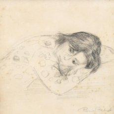 Arte: RAMON PICHOT SOLER (FIGUERES, 1924 - 1987) DIBUJO A CARBON. JOVEN DESCANSANDO. Lote 293795373