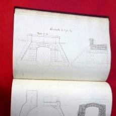Arte: ARQUITECTURA - FERROCARRIL - 30 DIBUJOS - TAGEAS Y ALCANTARILLAS - SIGLO XIX. Lote 293865693