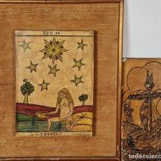 Arte: DIBUJOS SOBRE TABLA. LA ESTRELLA Y BARCO. TINTA Y ACUARELA. ANONIMO. SIGLO XX.. Lote 294142853