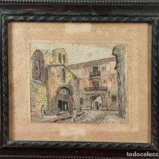 Arte: PAISAJE URBANO. DIBUJO A TINTA Y PASTEL SOBRE PAPEL. FIRMADO FONT. 1944.. Lote 294148883