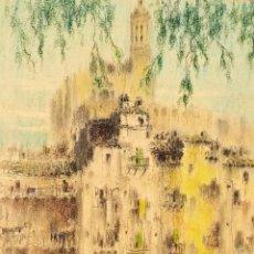 Arte: GIRONA. CASAS DEL RIO ONYAR. FIRMADO. JOSEP AGUILERA. PASTEL. ESPAÑA. CIRCA 1931. Lote 294580453