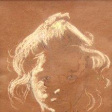 Arte: JOAN VILA CINCA (SABADELL, 1856 - 1938) DIBUJO A PASTEL FIRMADO. RETRATO DE UNA NIÑA. Lote 294853893