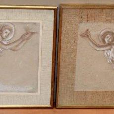 Arte: ANTONI VILA ARRUFAT (SABADELL, 1894 - 1989) PAREJA DE DIBUJOS A SANGUINA Y CLARION. ANGELES. Lote 295274813