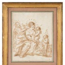Arte: AGUADA PARDA SOBRE PAPEL VERJURADO SAGRADA FAMILIA CON SAN JUANITO ESCUELA ITALIANA SIGLO XVII. Lote 295420213