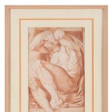 Arte: SANGUINA PAPEL IGNUDI DESNUDO MASCULINO SEGUIDOR DE MIGUEL ANGEL BUONARROTI ROMA SIGLO XVI. Lote 295421503