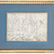 Arte: PLUMILLA Y AGUADA SOBRE PAPEL CRISTO ANTE PILATOS ESCUELA ITALIANA SIGLO XVII. Lote 295421968